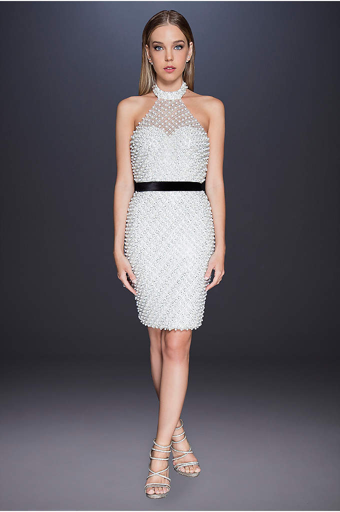 Pearl and Crystal High-Neck Short Wedding Dress - Skip the jewelry: this high-neck halter sheath dress