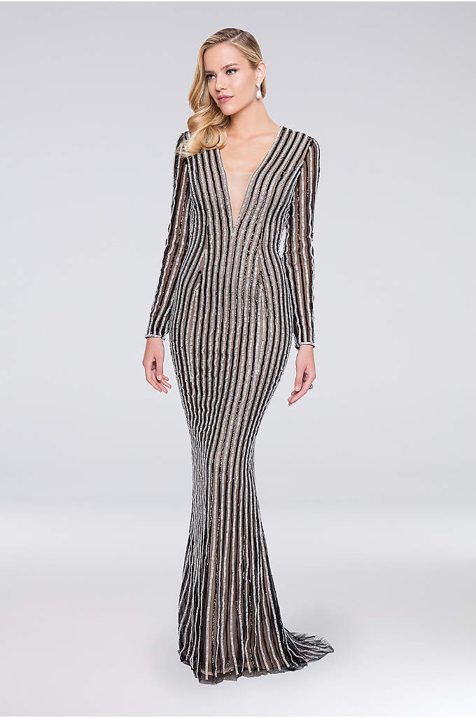Linear Beaded Long Sleeve Sheath Dress - Allover linear beading on a sleek column silhouette