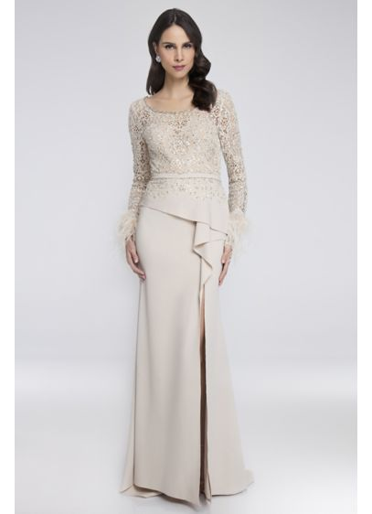 Beaded Lace Gown with Feather-Trimmed Sleeves - Get ready to make elaborate hand motions: the