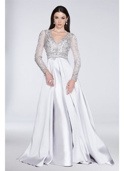 Long Ballgown Long Sleeves Cocktail and Party Dress - Terani Couture