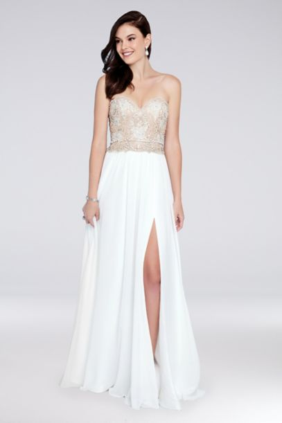 Strapless A Line Chiffon Dress With Beaded Bodice Davids Bridal