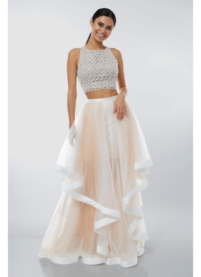 Beaded High-Neck Two-Piece Tulle Ball Gown - The horsehair-trimmed tulle skirt creates lovely shape and