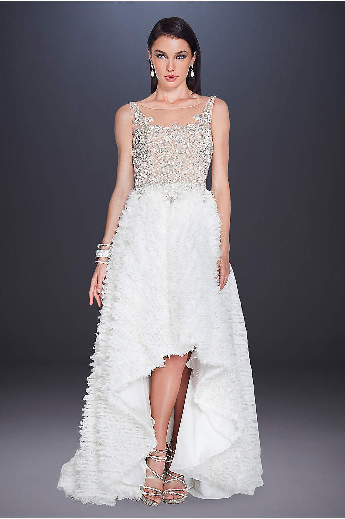 Beaded Illusion High-Low Feather Wedding Dress - Layer after layer of shirred chiffon create the