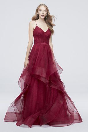 76084b5fe9 Long Ballgown Spaghetti Strap Dress - Glamour by Terani
