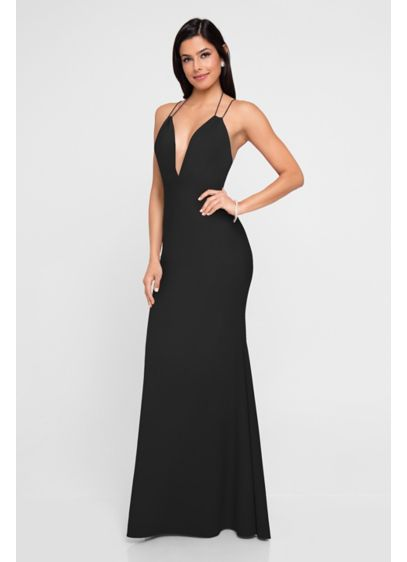 Plunging V-Neck Spaghetti Strap Crepe Sheath Dress - This long, lean stretch-crepe gown features an alluring