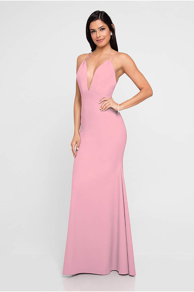 Plunging V-Neck Spaghetti Strap Crepe Sheath Dress