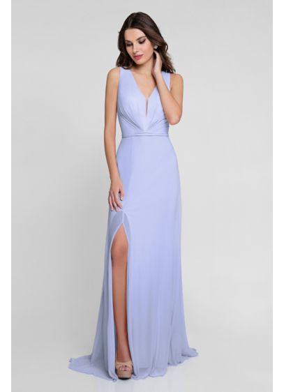 Gathered Illusion V-Neck Jersey Chiffon Gown - A chiffon overlay adds graceful movement to this