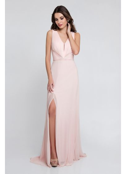Illusion V-Neck Jersey Chiffon Gown - A chiffon overlay adds graceful movement to this
