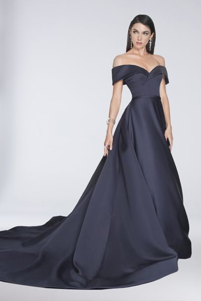 Off-the-Shoulder Satin Ball Gown with Train | David's Bridal