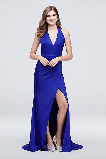 Open Back Belted Crepe Halter Sheath Dress