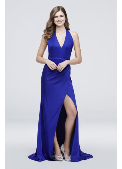 Open Back Belted Crepe Halter Sheath Dress - With its sensational open back and high front