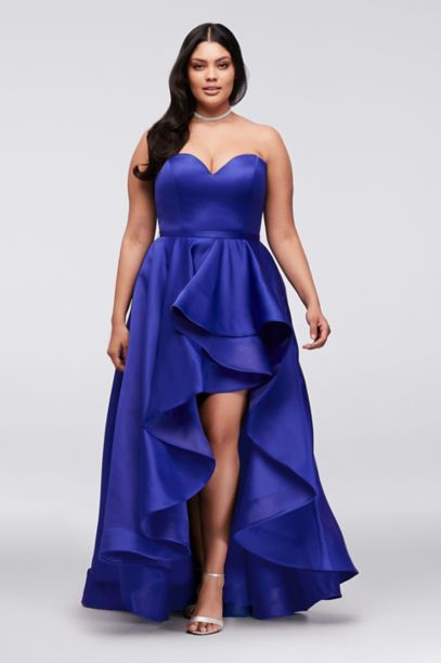 Satin Sweetheart High Low Plus Size Ball Gown David S Bridal