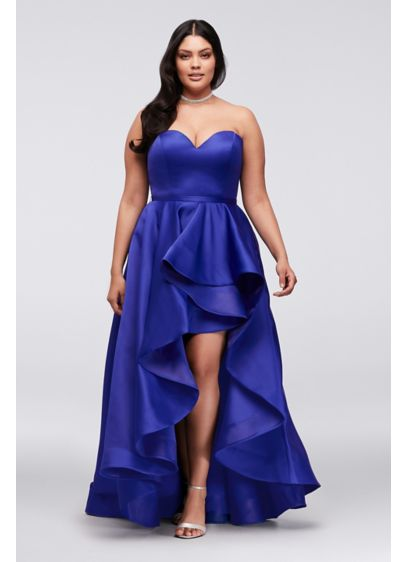 Satin Sweetheart High-Low Plus Size Ball Gown