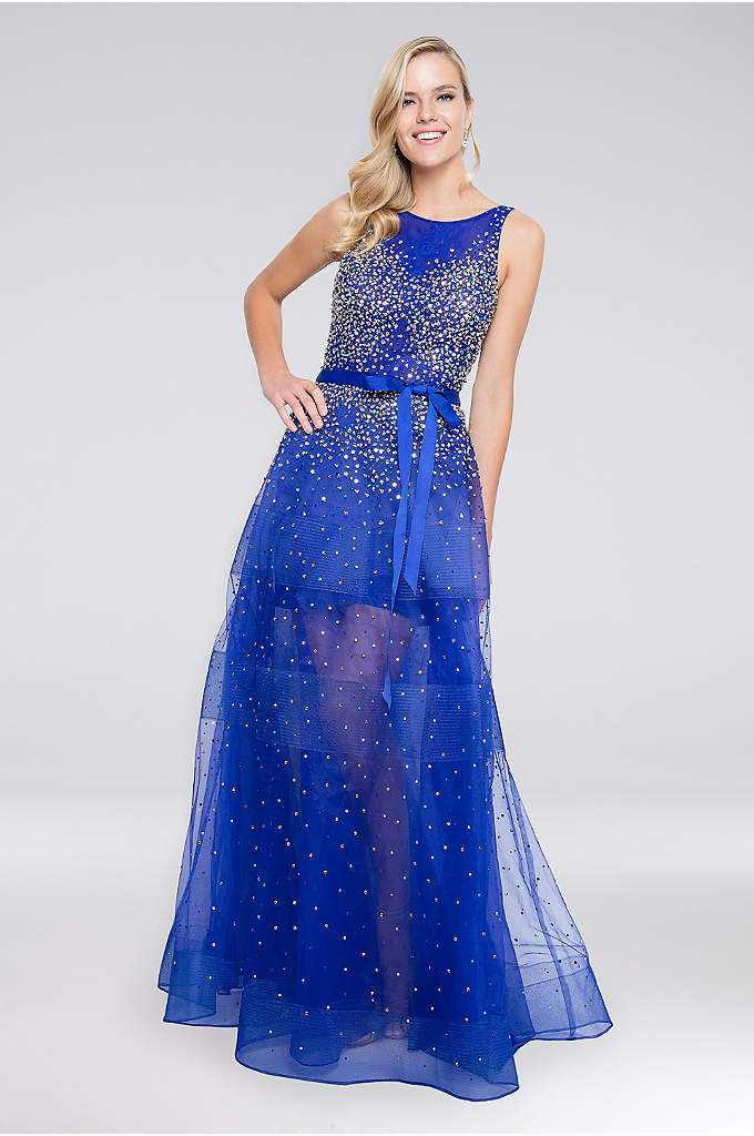 Beaded Bateau-Neck Ball Gown with Grosgrain Bow - All aglow with sequins, beads, and multi-colored crystals,