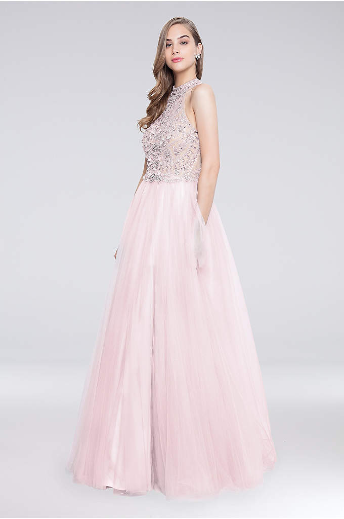 High-Neck Long Tulle Ball Gown with Beaded Bodice - Topped with a beaded high-neck bodice and finished