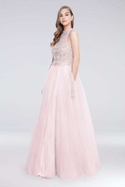 High Neck Long Tulle Ball Gown With Beaded Bodice Davids Bridal
