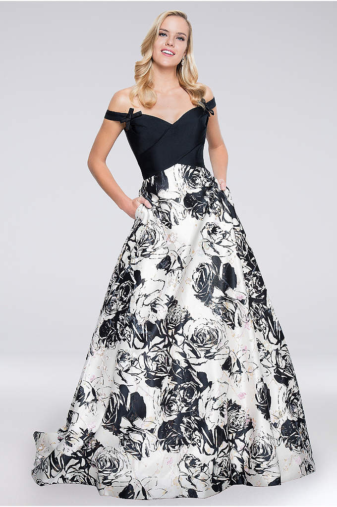 Bow-Tied Off-the-Shoulder Mikado Ball Gown - The seamed sweetheart bodice of this printed mikado