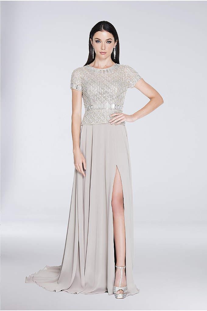 Jewel-Encrusted Short Sleeve Chiffon A-Line Gown - With its jewel-encrusted peplum bodice, chiffon A-line skirt,