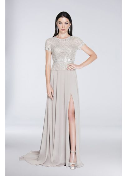f11ed08148 Long A-Line Short Sleeves Cocktail and Party Dress - Terani Couture