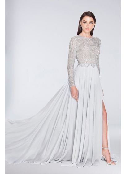 Beaded Long Sleeve A-Line Chiffon Dress with Slit - A high-glam gown for the mother of the