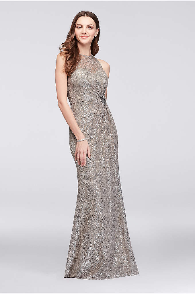 Metallic Lace Soft Sheath Dress with Waist Detail - Spare no glitz or glamour for your next