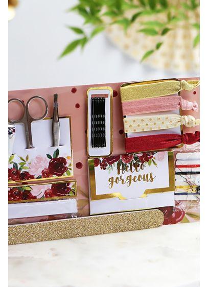 Burgundy Floral Wedding Survival Kit - Includes 12 oil absorbing wipes, tweezers, a pair