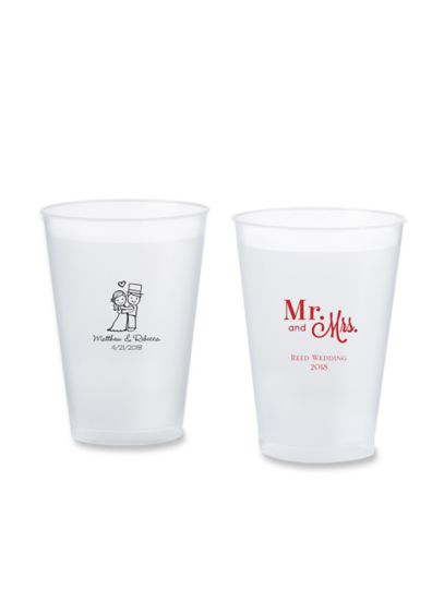 Personalized Wedding Frosted Flex Cup Favors - Wedding Gifts & Decorations