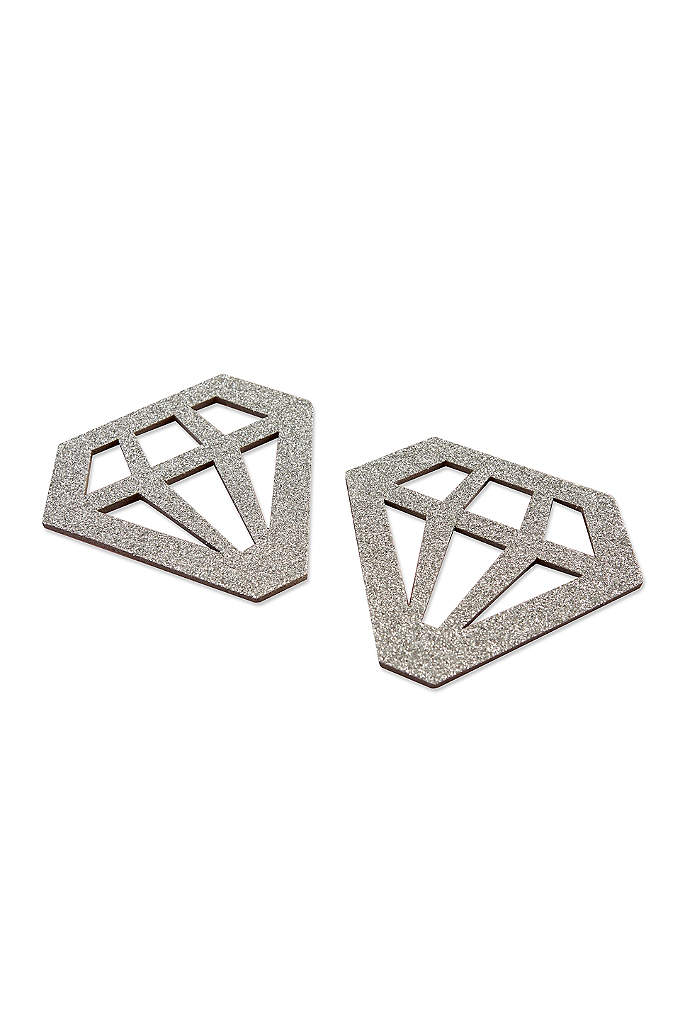 Silver Glitter Diamond Shaped Coasters Set of 24 - Diamonds are a girls best friend! Silver Glitter