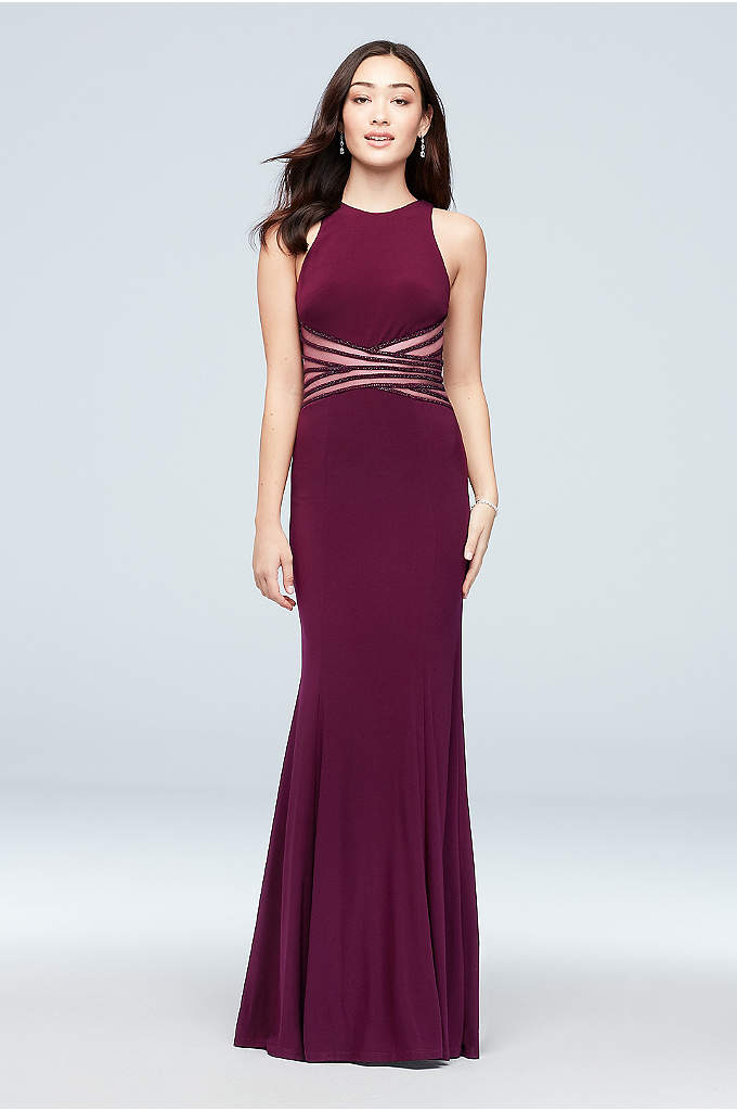 Jersey Sheath Dress with Crossed Illusion Waist - Crisscross panels of illusion mesh and rows of