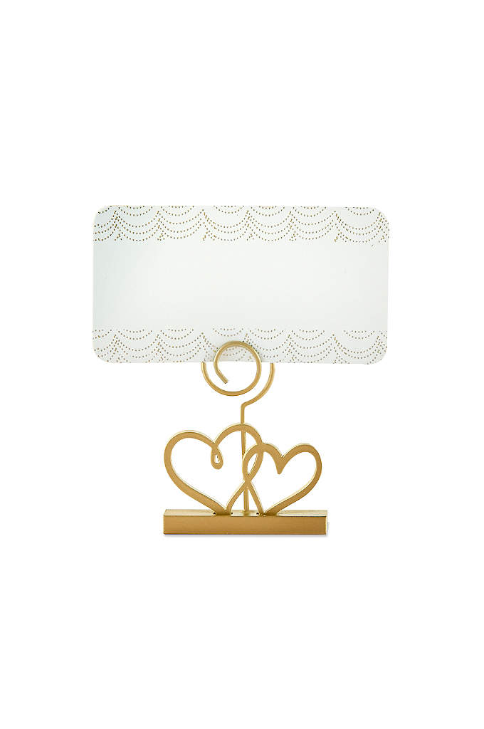 Gold Double Heart Place Card Holder Set of - Gold Double Heart Place Card Holder, sold in