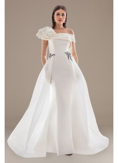 Off-the-Shoulder Wedding Dress with Overskirt - This ultra-glamorous wedding dress is defined by details