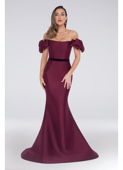 Off-the-Shoulder Pouf Sleeve Mikado Mermaid Dress - This simply stunning mikado mermaid gown features puffed