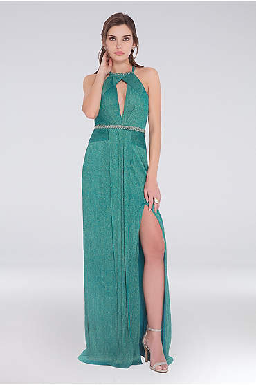 Pleated Draped Glitter Knit Dress with Beading