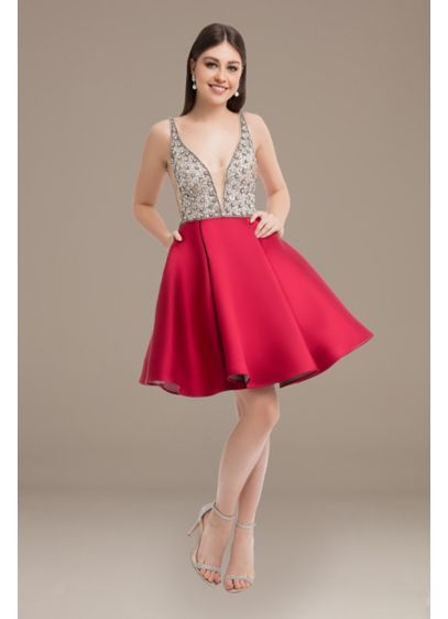 Plunging V-Neck Beaded Mikado Short A-Line Dress - This short-and-sassy dress is detailed with a plunging