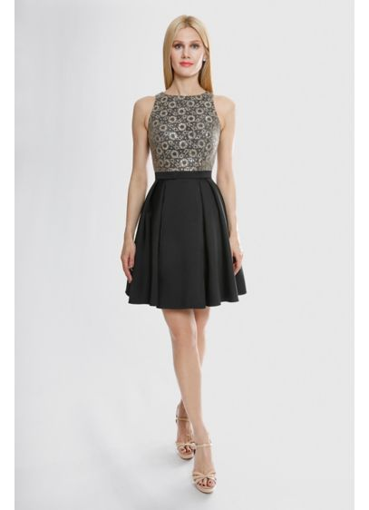 Metallic Daisy Lace Fit-and-Flare Short Dress - The sleeveless tank bodice of this mikado fit-and-flare
