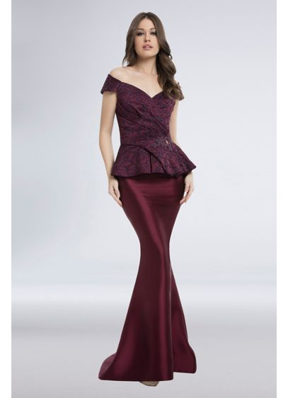 Lace Jacquard and Mikado Peplum Mermaid Gown - Off-the-shoulder styling, a lace peplum bodice, and fit-and-flare