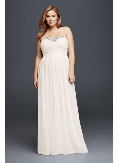 Strapless Chiffon Crystal Plus Size Wedding Dress Davids Bridal