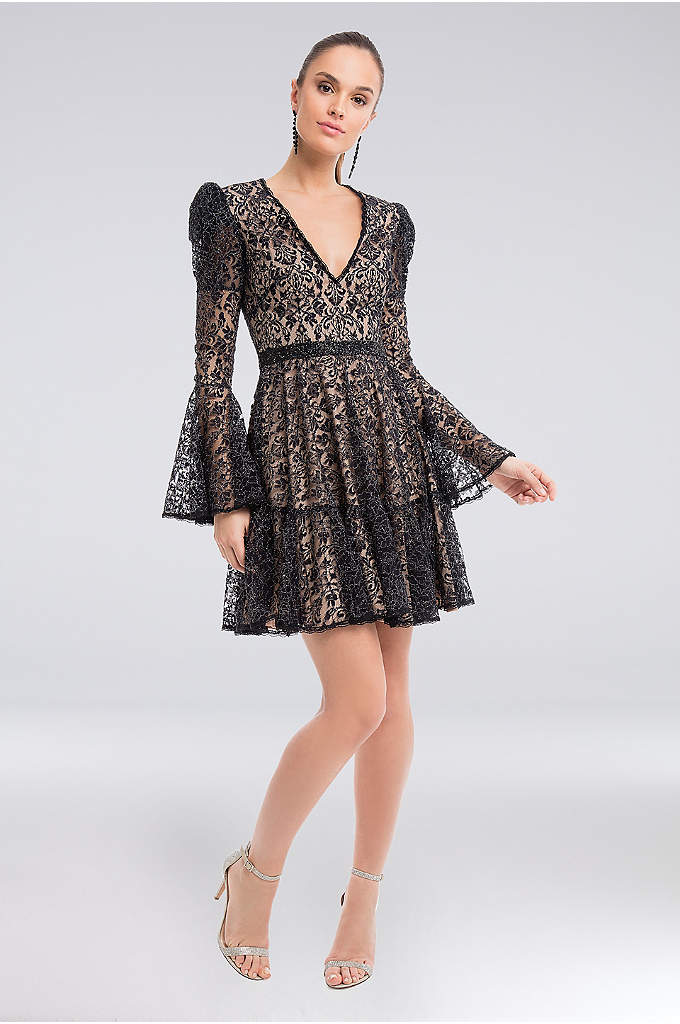 Tiered Metallic Lace Bell-Sleeve A-Line Dress