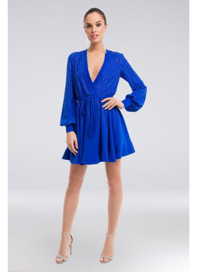 Crystal-Encrusted Short Knit Faux-Wrap Dress - Easy and breezy, this deep-V, faux-wrap matte knit