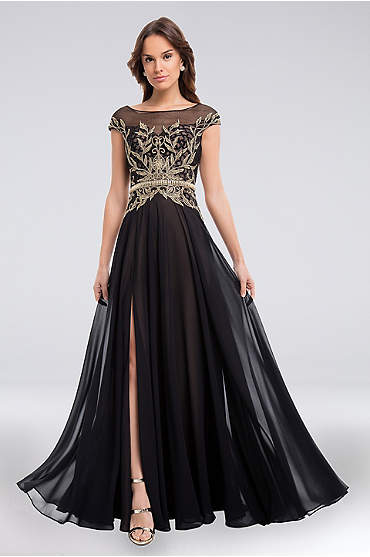 Beaded and Embroidered Bateau Bodice Chiffon Gown