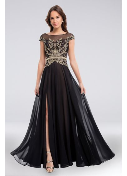 Beaded and Embroidered Bateau Bodice Chiffon Gown - This gracefully flowing chiffon gown features an intricately