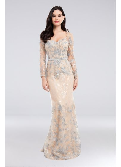 Metallic Lace Sweetheart Gown with Leather Belt - This softly shimmering metallic lace mermaid gown is