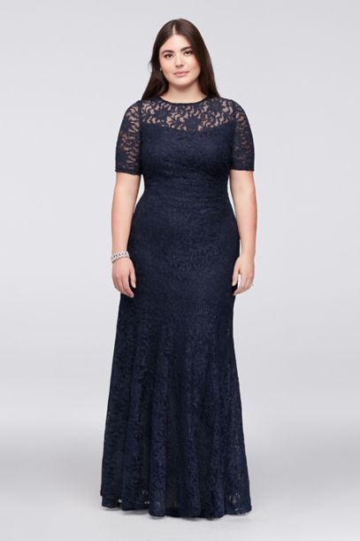 Short Sleeve Glitter Lace Plus Size Mermaid Dress Davids Bridal