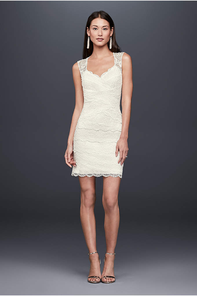 Layered Lace Short Dress with Keyhole Back - Sleek and slim, this layered lace dress skims