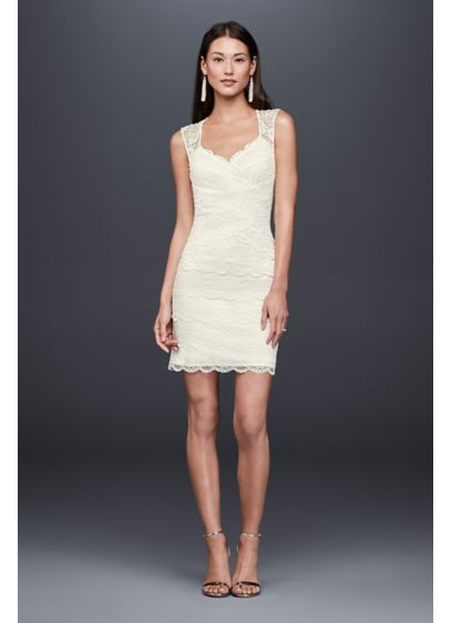 Short Sheath Romantic Wedding Dress - DB Studio