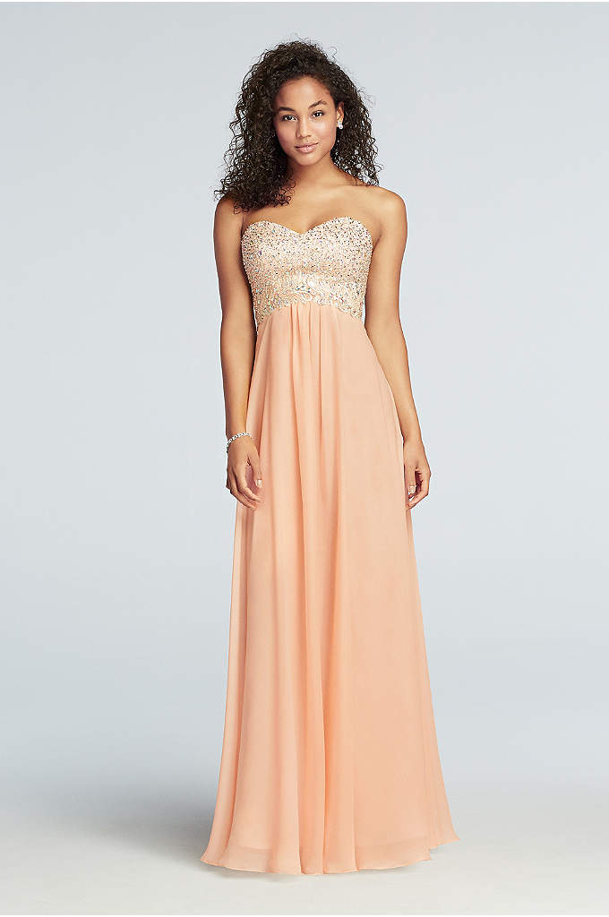 Strapless Chiffon Prom Dress with Beaded Bodice