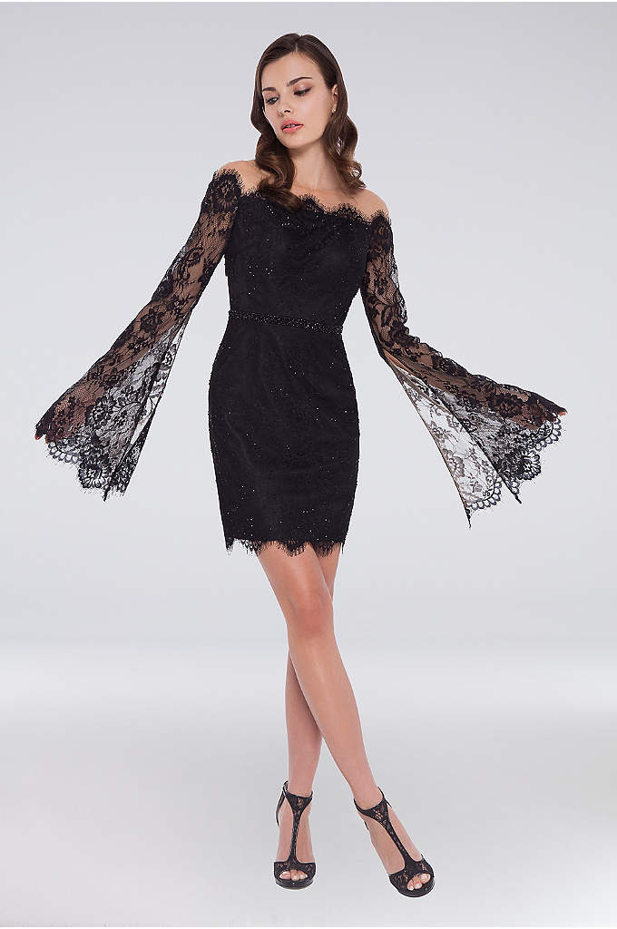 Open Back Lace Dress with Sheer Bell Sleeves