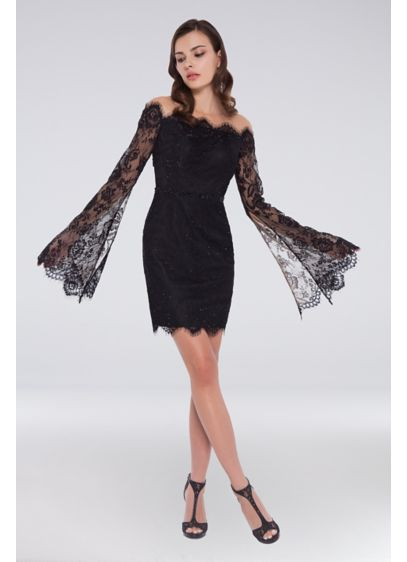 Open Back Lace Dress with Sheer Bell Sleeves - An amazing look for your next big event,