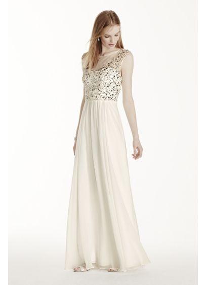 b4d2adced0 Illusion Neckline Crystal Bodice Chiffon Dress