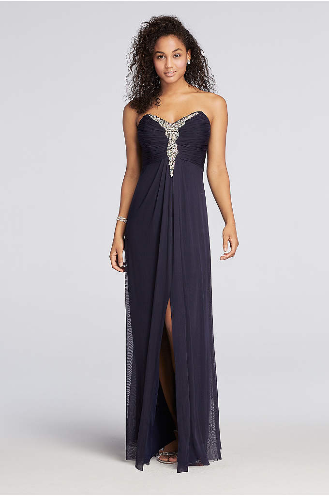 Strapless Mesh Prom Dress with Beaded Neckline